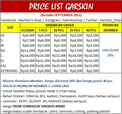 PRICE LIST GARSKIN SEPTEMBER